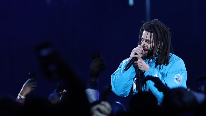 J Cole Rapping at the 2019 NBA All Star Game