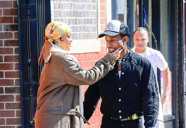 Rihanna (L) and A$AP Rocky are seen filming a music video in the Bronx on July 10, 2021 in New York City.