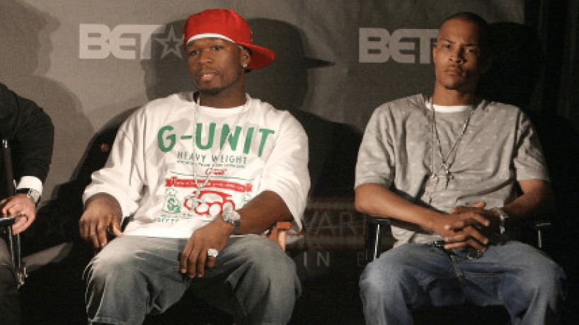 50 Cent, TI, and Robin Thicke during BET Awards 2007 Nominee Announcements at Renaissance Hollywood Hotel in Hollywood, California, United States.