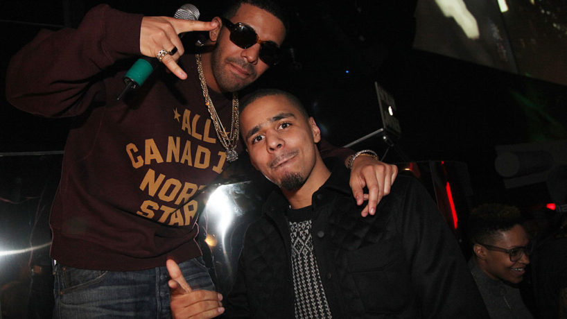 INDIANAPOLIS, IN - FEBRUARY 03: (L-R) Rapper's Drake and J. Cole attend First Down Friday at Sensu on February 3, 2012 in Indianapolis, Indiana.