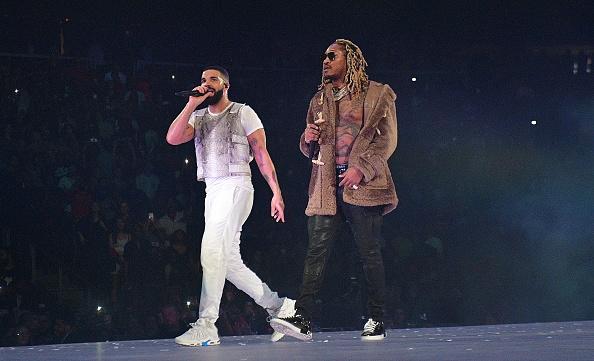 ATLANTA, GA - NOVEMBER 18: Drake and Future perform onstage during the Final Stop of 'Aubrey & The three Amigos Tour' at State Farm Arena on November 18, 2018 in Atlanta, Georgia.