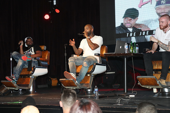 NEW YORK, NY - JULY 21: (L-R) Mal, Joe Budden and Rory attend the Joe Budden Podcast Live at Highline Ballroom on July 21, 2017 in New York City.