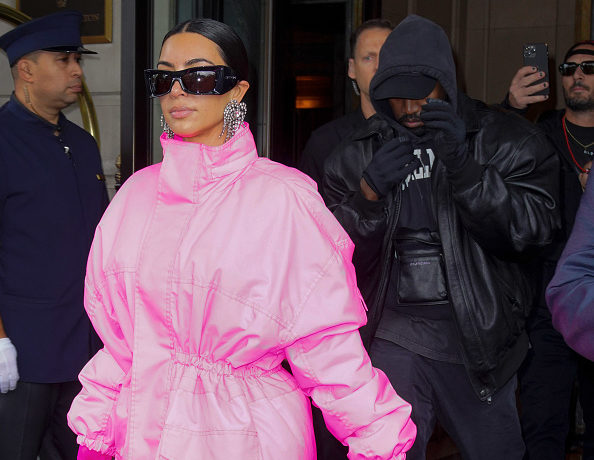 Kanye West and Kim Kardashian head out of their hotel on October 09, 2021 in New York City.