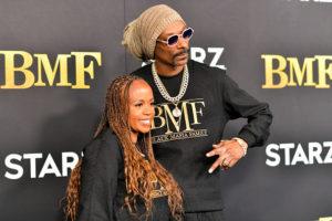 "ATLANTA, GEORGIA - SEPTEMBER 23: Shante Broadus and Snoop Dogg attend STARZ Series ""BMF"" World Premiere at Cellairis Amphitheatre at Lakewood on September 23, 2021 in Atlanta, Georgia."