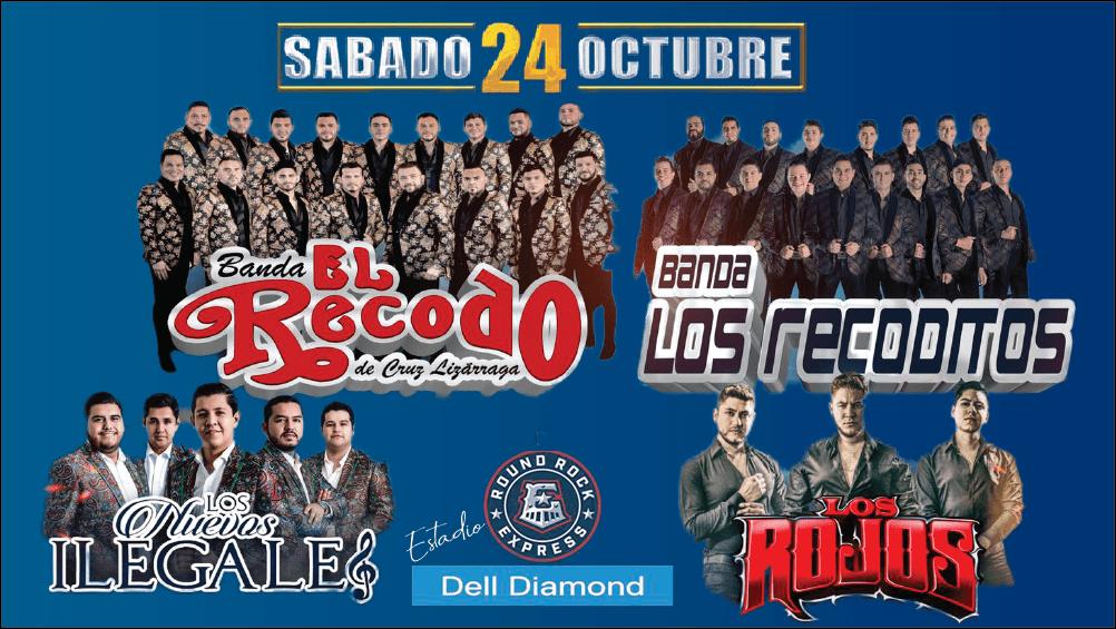 Banda El Recodo, Banda Los Recoditos, Los Nuevos Ilegales, y Los Rojos_ Dell Diamond Sabado 24, de Octubre