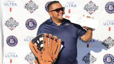 El Pato with Michelob and RR Express glove