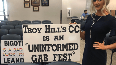 woman with gab fest sign