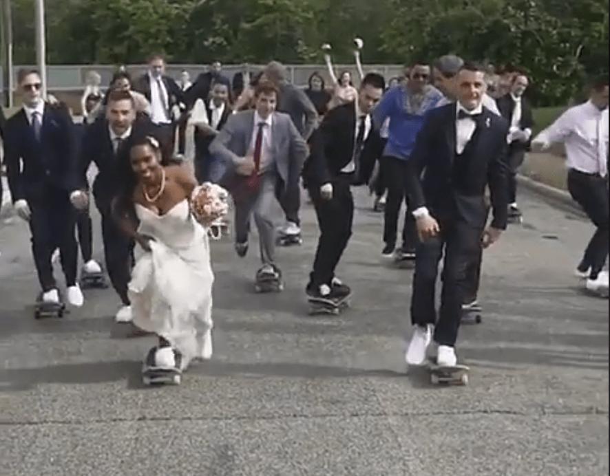 Wedding skateboard fail