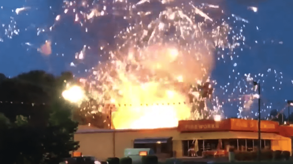 Fireworks store on fire