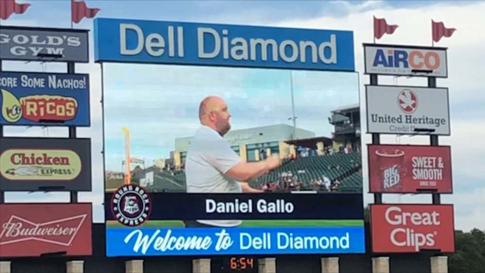 #tbt – Daniel Gallo from KLBJ Horribly Fails at Throwing Out the First Pitch