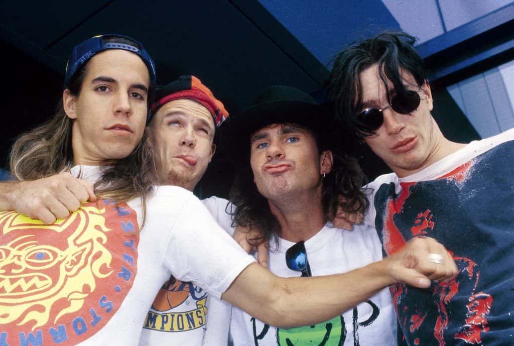 Photo of RED HOT CHILI PEPPERS; L-R: Anthony Kiedis, Flea, Chad Smith, John Frusciante - posed, group shot
