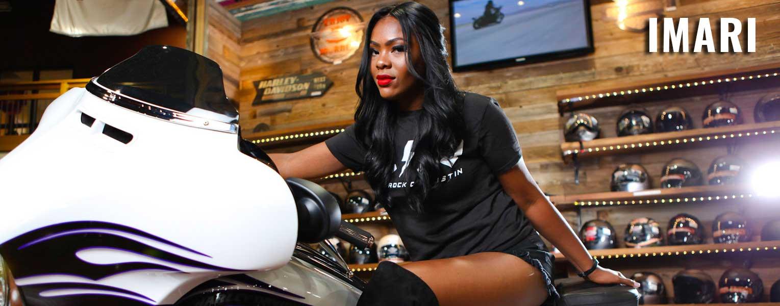 Imari on a motorcycle
