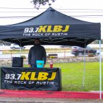 Dudley and Bob with Matt Breaking & Entering 2019: KLBJ outdoor tent with promotions coordinator