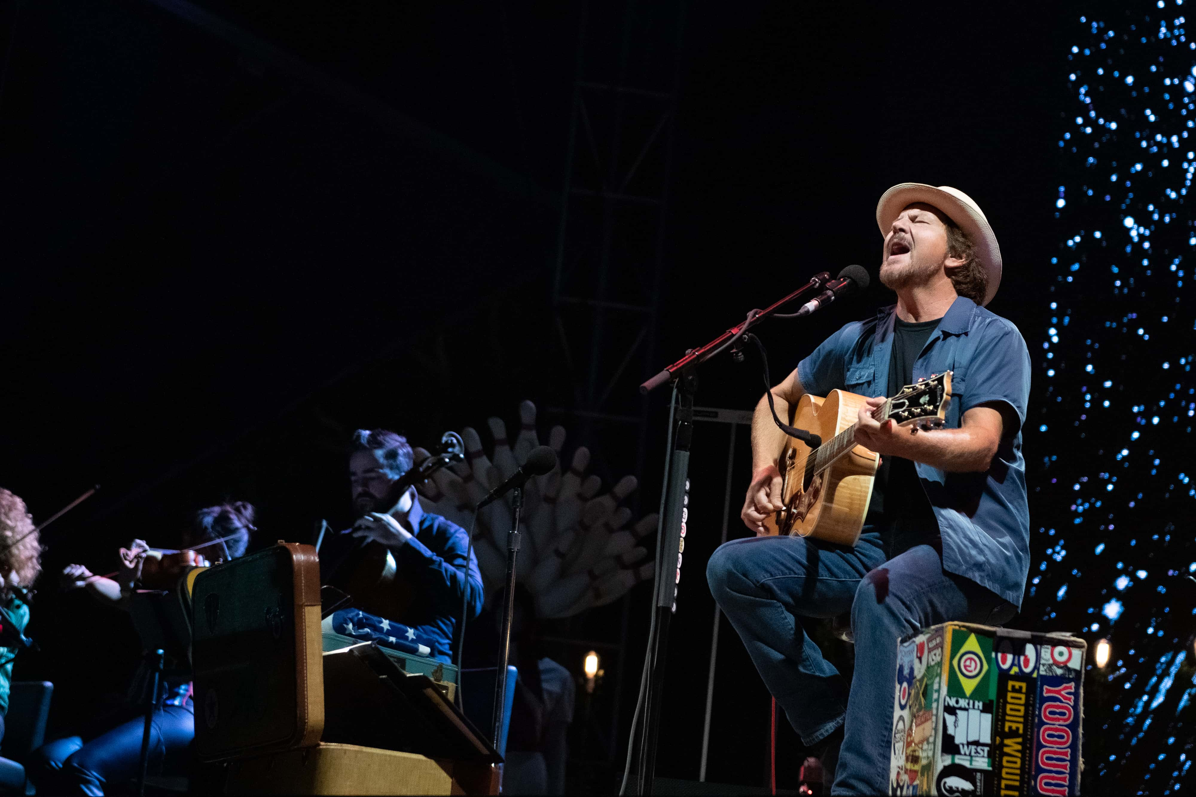 Singer/songwriter and guitarist Eddie Vedder performs live on stage during Ohana Festival at Doheny State Beach on September 28, 2019 in Dana Point, California.