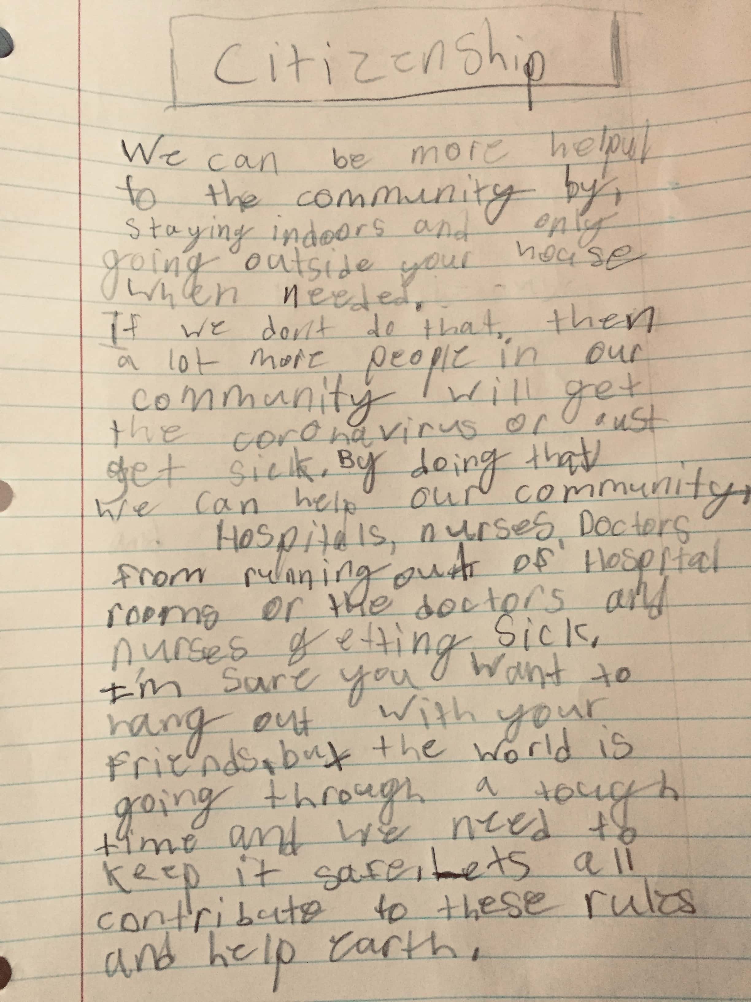 Thoughts on citizenship from a 9 year old