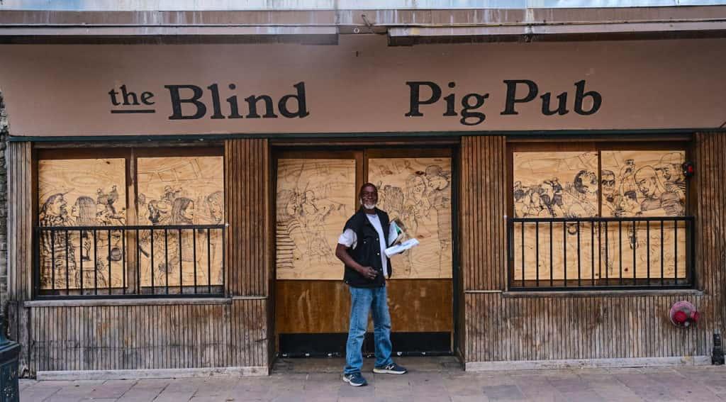 Art in front of Blind Pig Pub