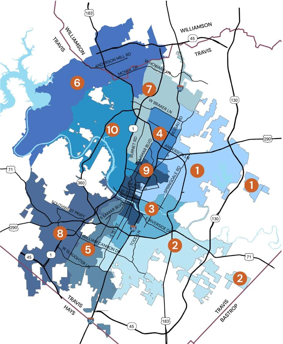 Austin's city council districts