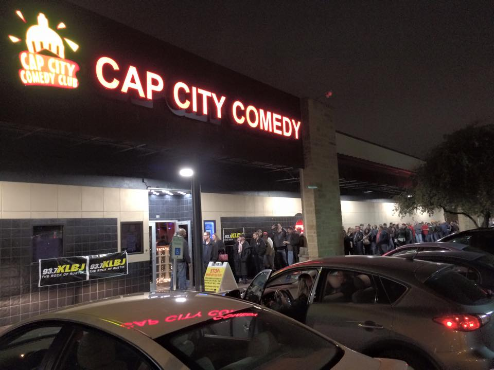 crowd outside of cap city comedy