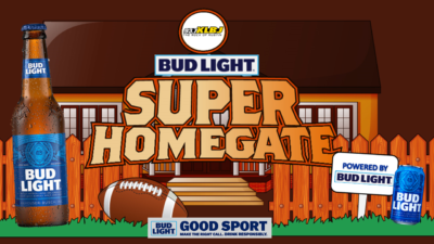 "Texas Homegate from KLBJ FM powered by Bud Light bottles, football and Bud Light ""Good Sport - Make the right call. Drink Responsibly."