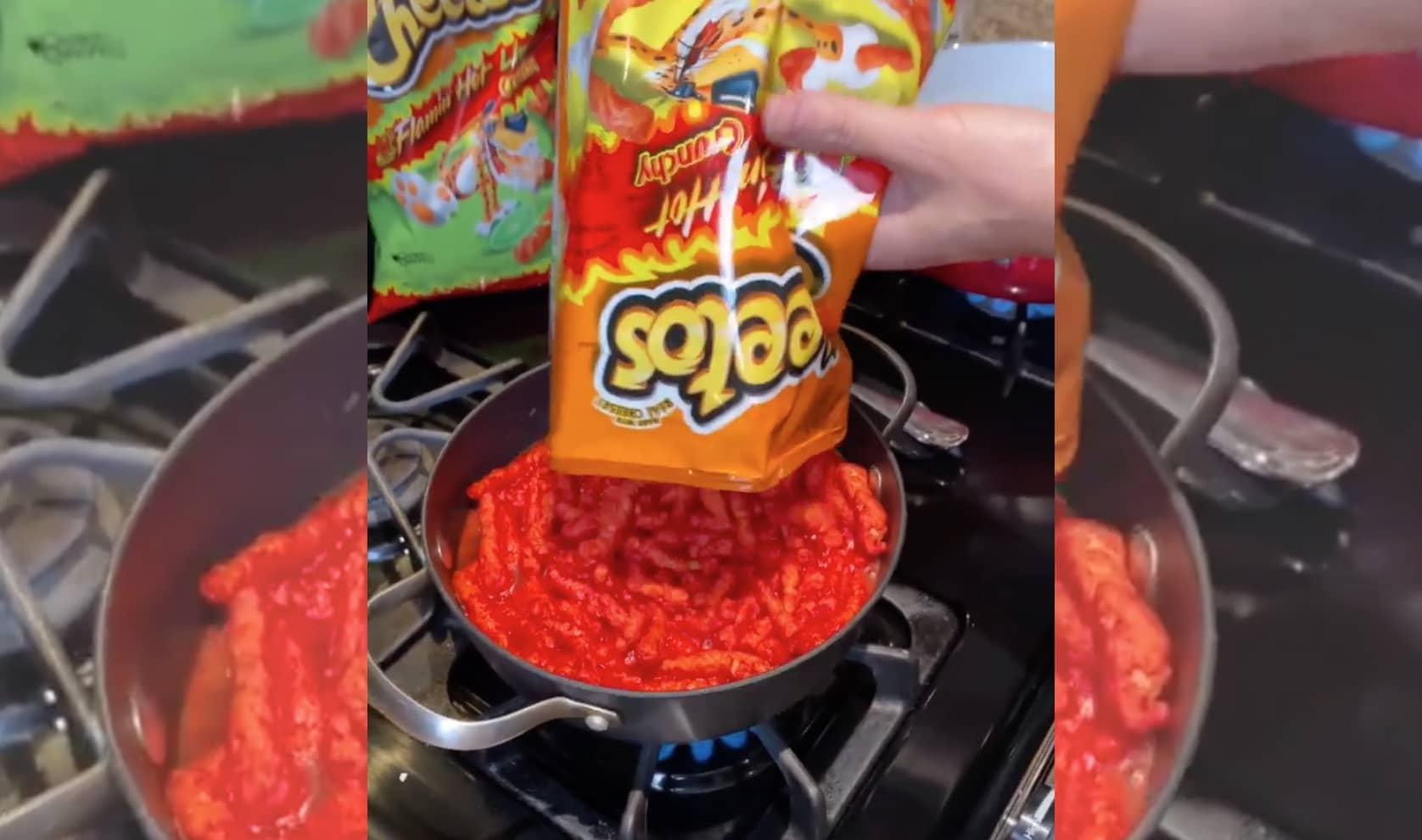 boiling a bag of flaming hot Cheetos