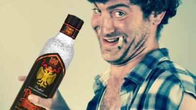 a man with a bottle of rumplemintz