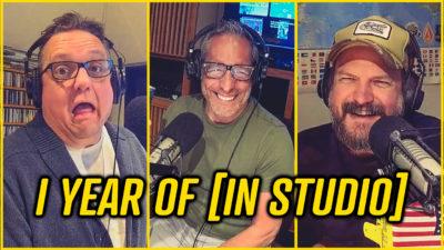 Dudley and Bob and Matt in the KLBJ studio