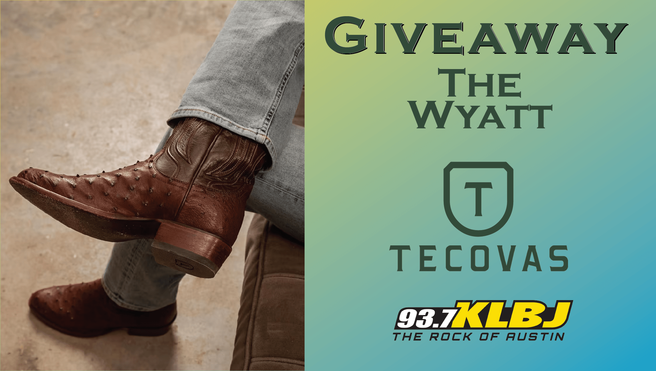 Tecovas the wyatt cowboy boot giveaway from klbjfm