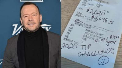 Donnie Wahlberg and IHOP receipt