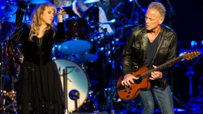 Lindsey Buckingham and Stevie Nicks performing onstage