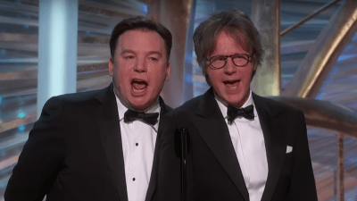 Mike Myers and Dana Carvey onstage