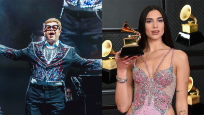 "Elton John and Dua Lipa Sing ""Bennie And The Jets"" and ""Love Again"" Together at Oscars Watch Party"