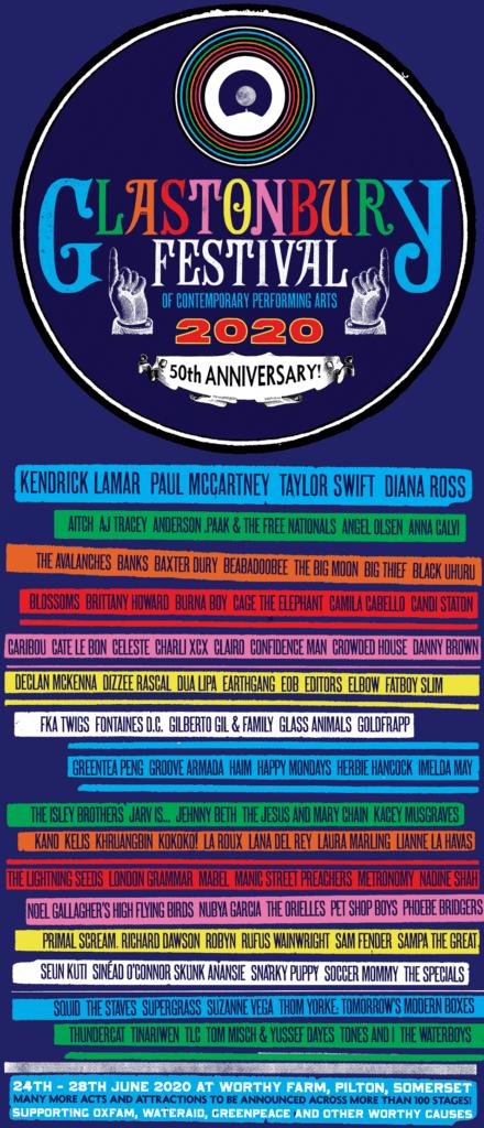 Glastonbury 2020 lineup 50th anniversary