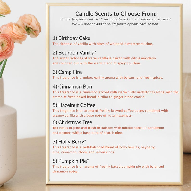 WAP Scent Menu, including 8 fragrances for the limited edition candle- listed options include Bourbon Vanilla, Pumpkin Pie, Christmas Tree and more