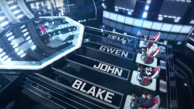 The Voice stage with Blake, John, Gwen, and Kelly