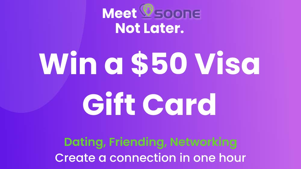 Enter for a chance to win a $50 Visa gift card to take your Soone (this is the name of the app) to be connection out for Happy Hour + Win a $50 Gift Card
