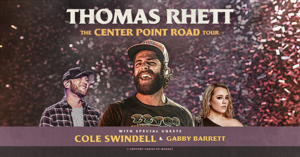 Thomas Rhett Center Point Road Graphic with him in the center and his two special guests, Cole Swindell and Gabby Barrett on the sides of him