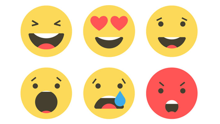 Set of emoji icons. Funny faces with different emotions. Emoji flat style icons on white background.