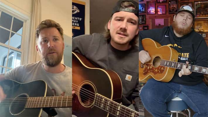 Charles Kelley, Morgan Wallen, and Luke Combs participating in the Deep Cuts Challenge
