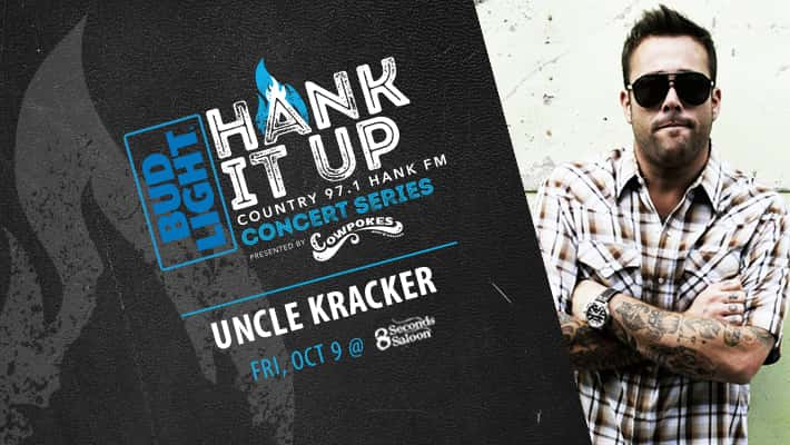 uncle kracker wearing sunglasses in plaid shirt with arms crossed BudLight Hank It Up Country 97.1 Hank FM Concert Series Presented by Cowpokes Uncle Kracker Friday October 9th at 8 Seconds Saloon