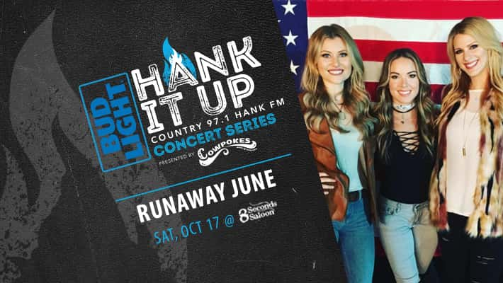 Runaway june simling in from of american flag backdrop Bud Light Hank It Up Country 97.1 Hank FM Concert Series PResented by Cowpokes Runaway June Saturday October 17th at 8 Seconds Saloon