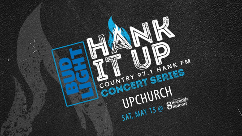 Black leather with grey flame icon Budl Light Hank It Up Country 97.1 HANK FM Concert series UPCHURCH Saturday May 15th at 8 Second Saloon