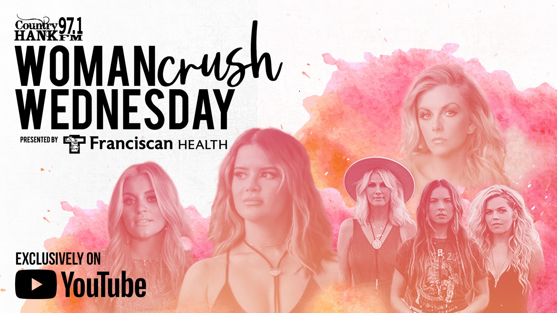 Woman Crush Wednesday Poster with headshots of artists and YouTube logo