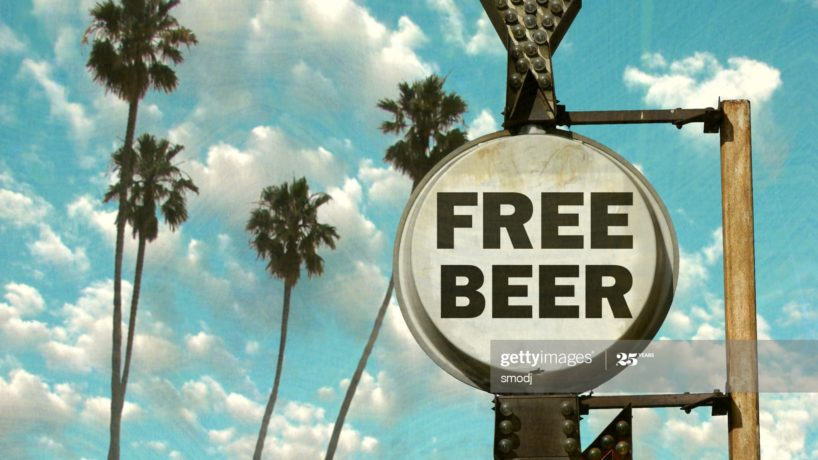 Old free beer sign
