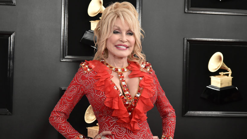Dolly Parton in a red dress