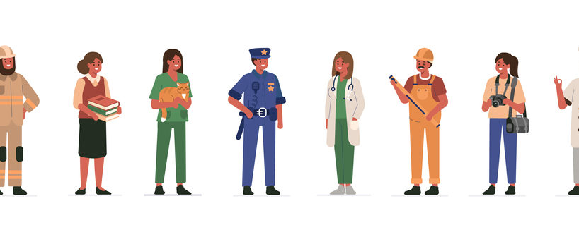 Different Professions People Characters Standing Together.