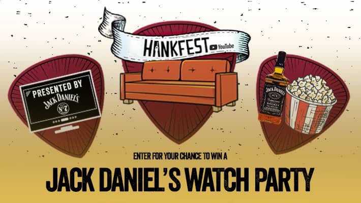 Jack Daniel's Watch Party Header with coach tv and popcorn
