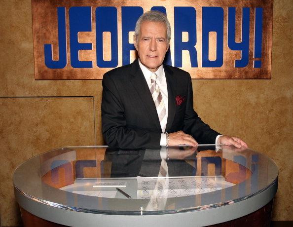 Alex Trebek poses on the set of Jeopardy