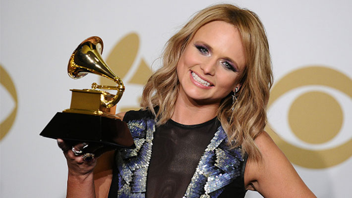 Miranda Lambert holding a Grammy Award at the 57th Grammy Awards