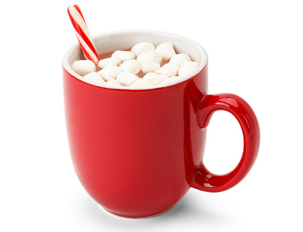 Red Mug of hot chocolate with candy cane and marshmellows