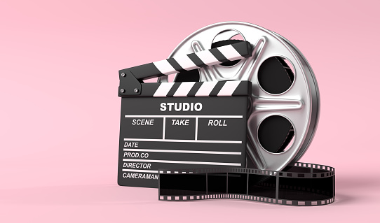 Film reel with clapperboard isolated on bright pink background